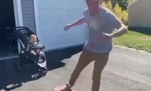 Toddler's priceless reaction to dad's awesome skateboard skills