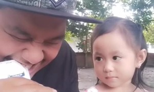 Dad Surprises Daughter While Opening a Milk