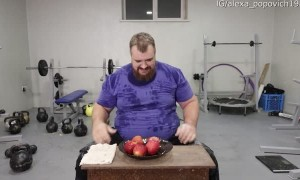 Strong Man Splits Fruit with Single Hand