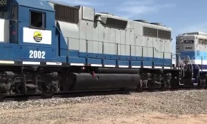 Two Vehicles Nearly Collide with Train and Each Other