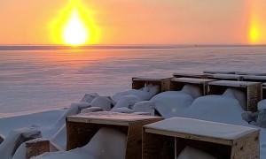 Arctic Sun Dog Creates Beautiful Sunset Illusion