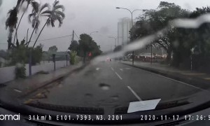 Lightning Strikes Power Pole during Rainy Season