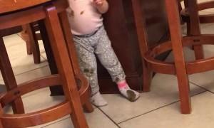 Little Girl Denies Messy Floor Finger Painting