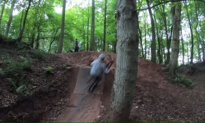 Big Jump Turns Cyclist into Tree Hugger