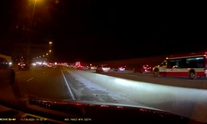 Car Pursues Hit and Run Driver on Highway