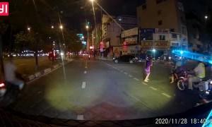 Sleepy Pillion Passenger Falls off Motorbike