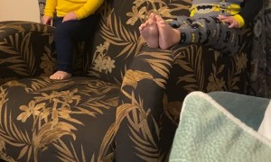 Boy Slides off Side of Chair