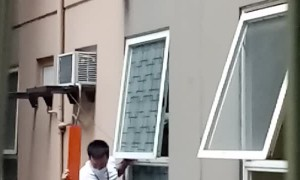 Staff Scale Building to Rescue Dog