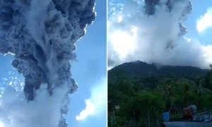 Incredible footage of volcano erupting in Indonesia
