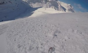 Scary Moment When Skier Gets Caught In Avalanche