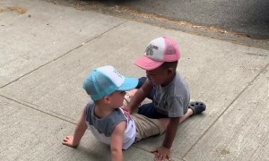 Toddlers run to hug each other and yell,