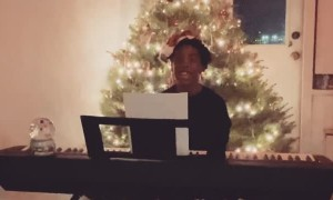 Christmas Tree Interrupts Kid's Virtual Performance for School