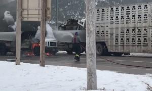 Wind Generator Blade Slammed Straight Through Truck