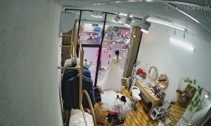 Wedding Dress Mannequin Takes a Dive