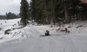 Skier Has a Rough and Icy Landing