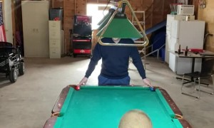 Man Bamboozles Son with Pool Trick Shot Gag