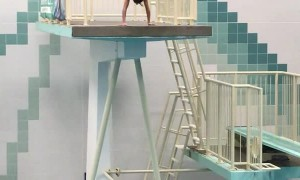 High Board Trick Dive Ends in a Spill