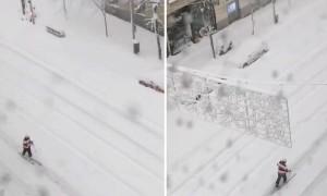 Rare snowfall on Goya Street in Madrid due to Storm Filomena