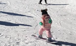 18-Month-Old Snowboarding for the First Time