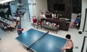 Slippery Hand Sends Table Tennis Bat Flying