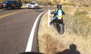 Motorcyclists Have a Close Call on Blind Canyon Corner