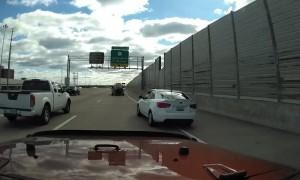 Impatient Car Swerves Through Traffic