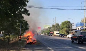 Truck Leaves Trail of Burning Bales