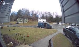 Wild Turkeys Scare Amazon Delivery Driver