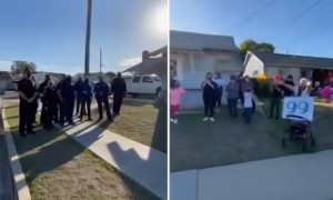 San Diego Police Officers sing 'Happy Birthday' to 99-year-old woman