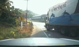 Truck Rolls Backward Down Hill and Hits Car