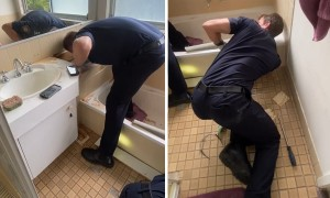 Firefighters rescue cat stuck under bathtub