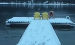 Slippery Dock Leads To A Cold Dunk