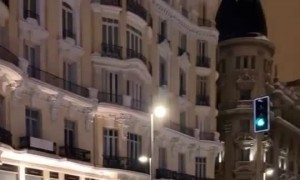 Epic community snowball fight in Madrid, Spain