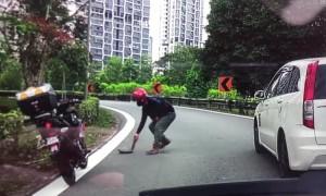 Biker Saves Turtle Crossing the Road