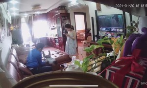 Dad Saves Baby That Lunges Forward off the Couch