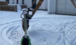 Excavator Powered Snow Sled