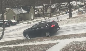 Car Can't Conquer Icy Hill