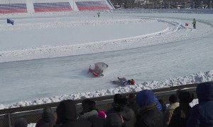 Crash at the Motorcycle Ice Racing Championship