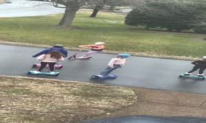 Group of Girls Hoverboard in Unison