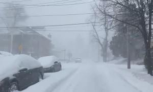 Insane winter snow blizzard on Staten Island
