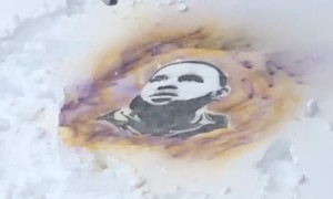 Amazingly realistic painting of LeBron James on the snow