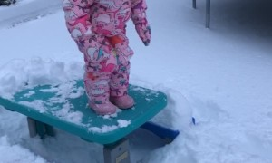 Toddler Face Plants into Snow off Picnic Table
