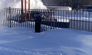 Kid Wants to Stand Under Snow Coming From Snow Blower