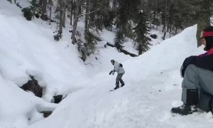Freezing Finale to Snowboarding Trick Attempt