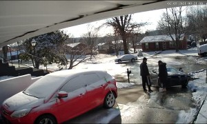Woman Slips While Defrosting Icy Driveway