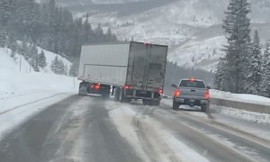 Semi Fishtailing Trying to Pass Vehicles on Icy Roads