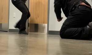 Coworker's Phone Smacks Man on the Head After Scare Prank