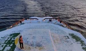 Practicing Hockey on Swedish Icebreaker Ship