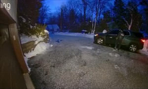 Man Takes a Tumble on Winter Morning
