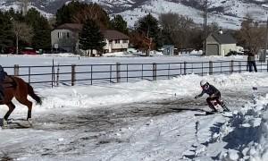 Skijoring Practice in Utah